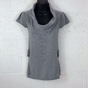 Converse One Star Size S Cowl Neck Top, Gray.